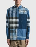 Burberry Patchwork Check Cotton Poplin Shirt Picture