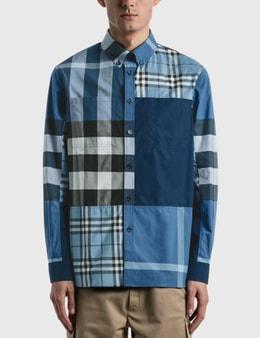Burberry Patchwork Check Cotton Poplin Shirt