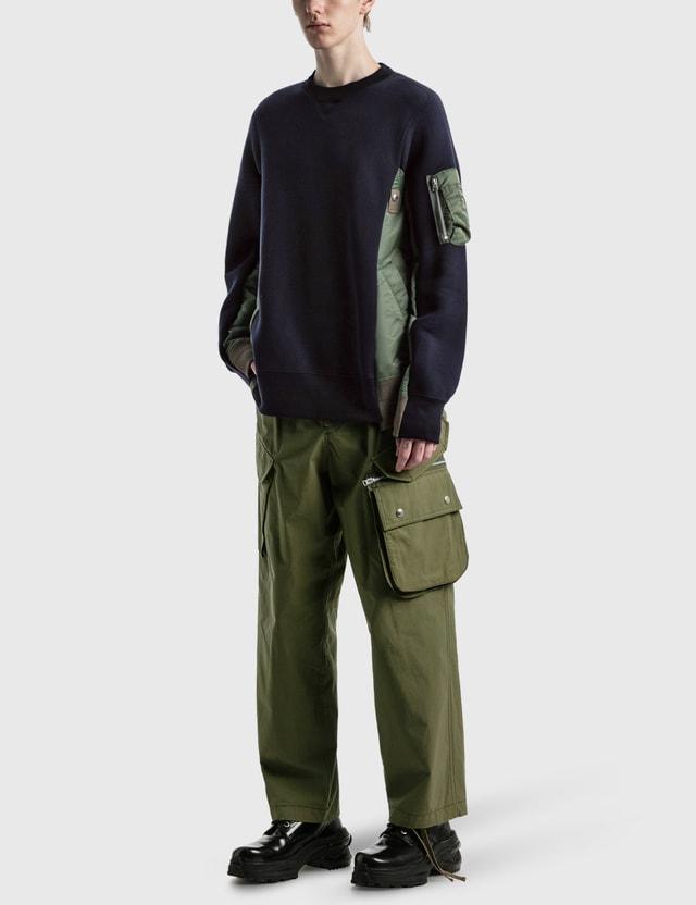 Sacai Sponge Sweat MA-1 Pullover Navy X Khaki Men