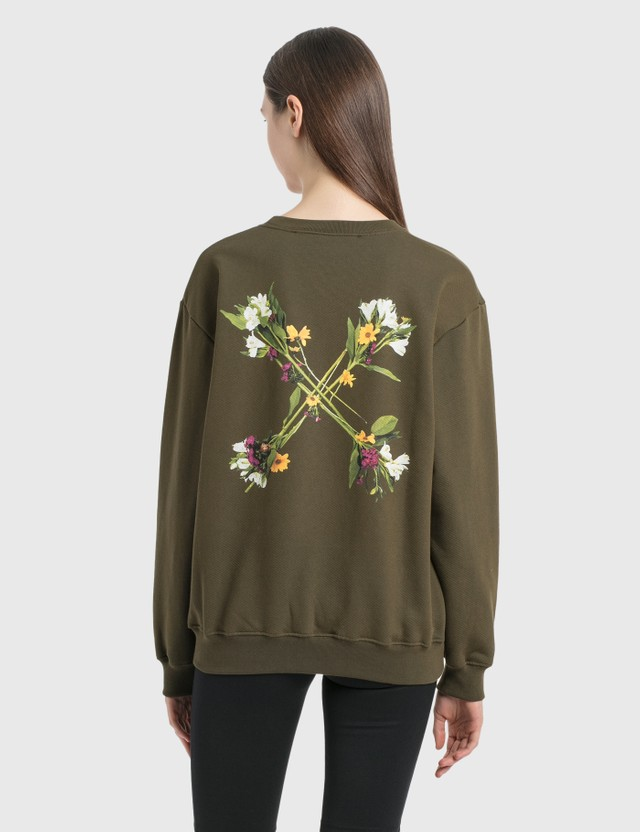 Off-White Flock Arrow Reg Crewneck Military Green Women