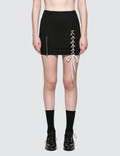 Danielle Guizio Pinstripe Lace Up Zip Skirt Picture