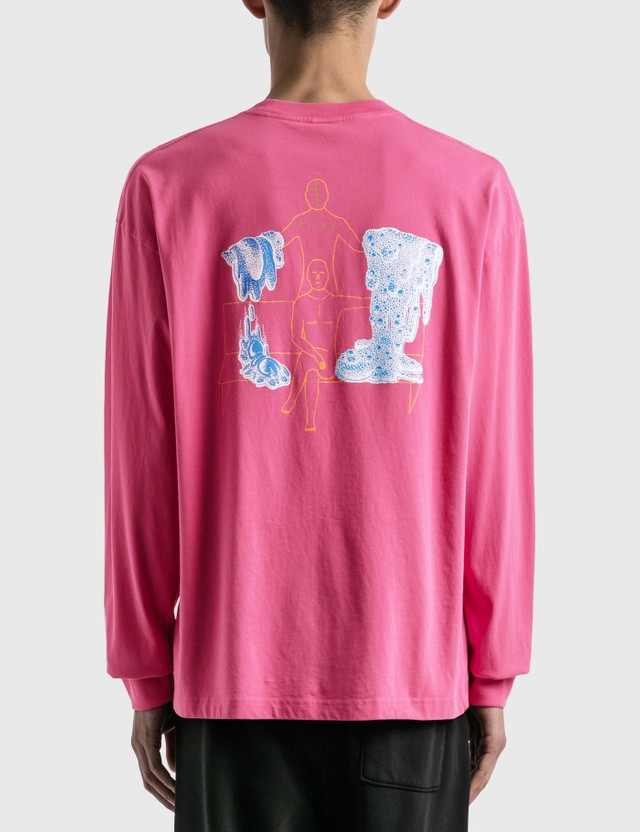 Brain Dead Goop Long Sleeve T-Shirt Washed Pink Men