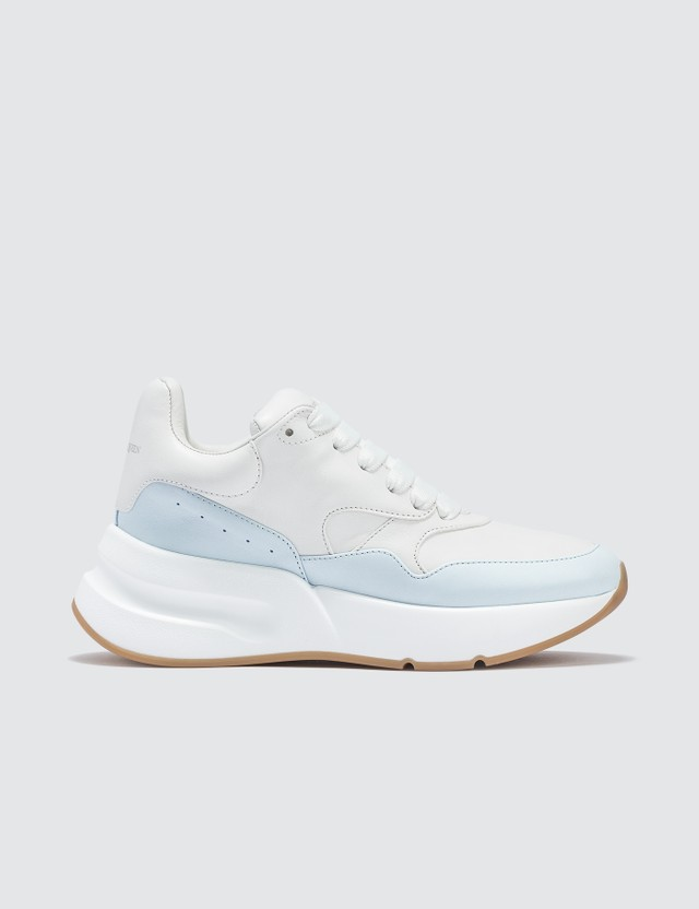 Alexander McQueen Chunky-sole Low-top Leather Runner Opt White/ Pale Blue Women