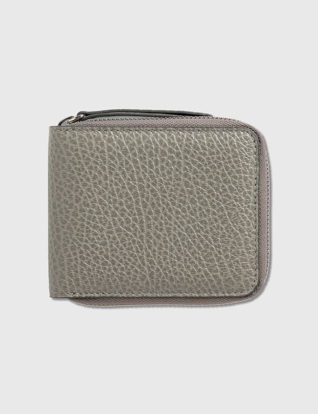 Maison Margiela Grain Leather Zip Wallet New Smoke Women