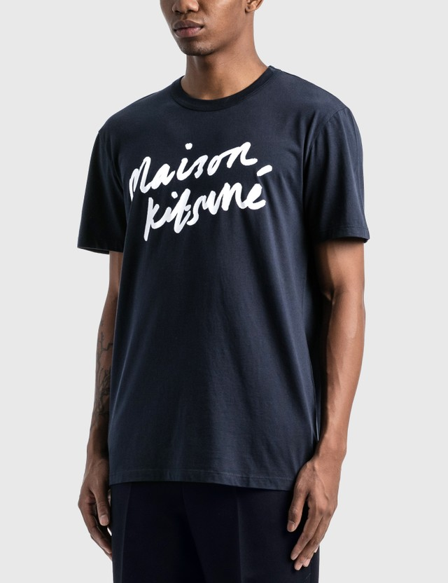 Maison Kitsune Handwriting T-Shirt Navy Men