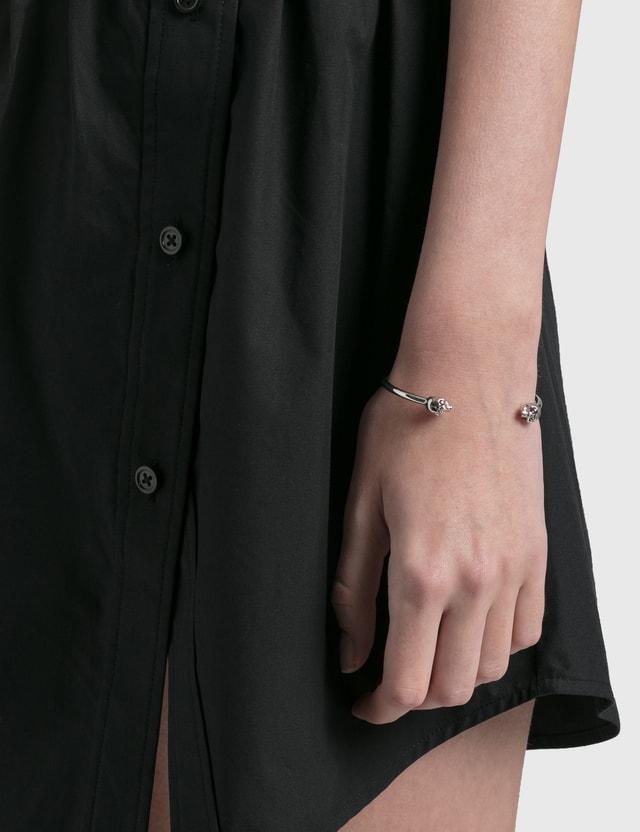 Alexander McQueen Thin Twin Skull Bracelet Silver Women
