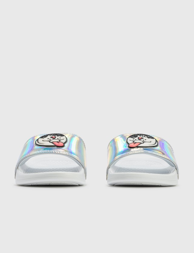 RIPNDIP Pill Iridescent Slides White Women
