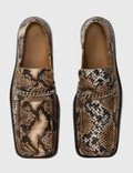 Martine Rose Snake-embossed Leather Loafer Natural Natural Women