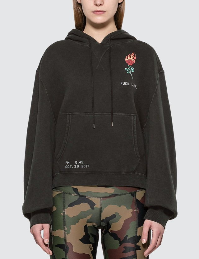 R13 Flaming Rose Cropped Hoodie
