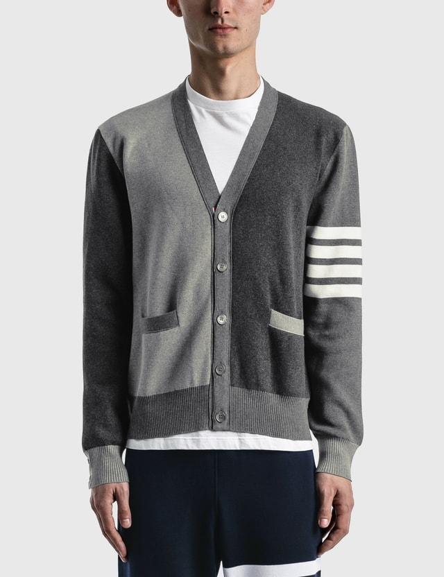Thom Browne Milano Stitch V Neck Cardigan Tonal Grey Men