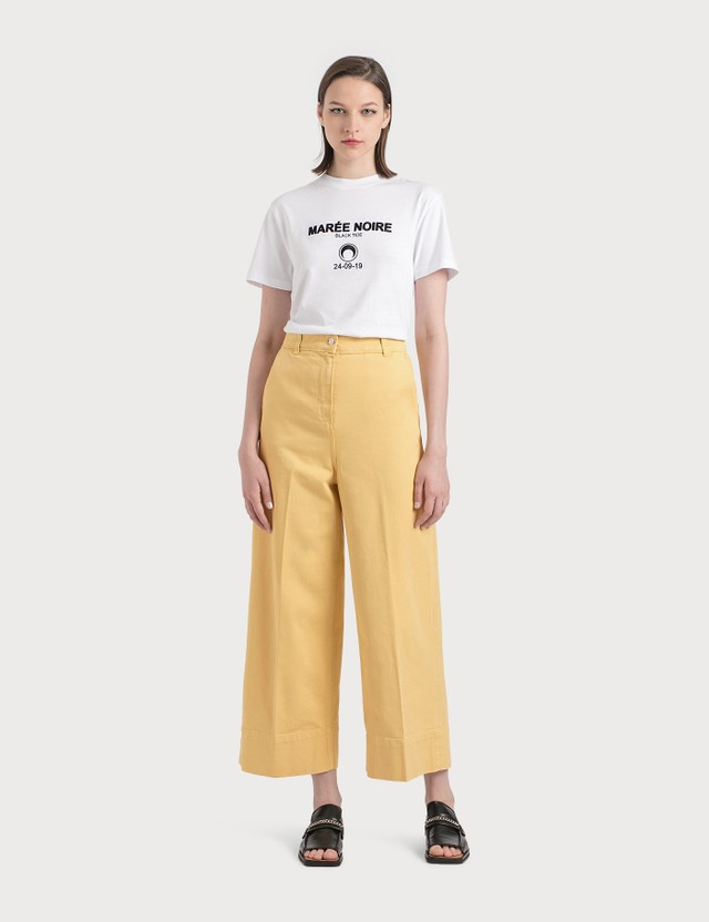 Maison Kitsune Large High-Waist Pants Yellow Women