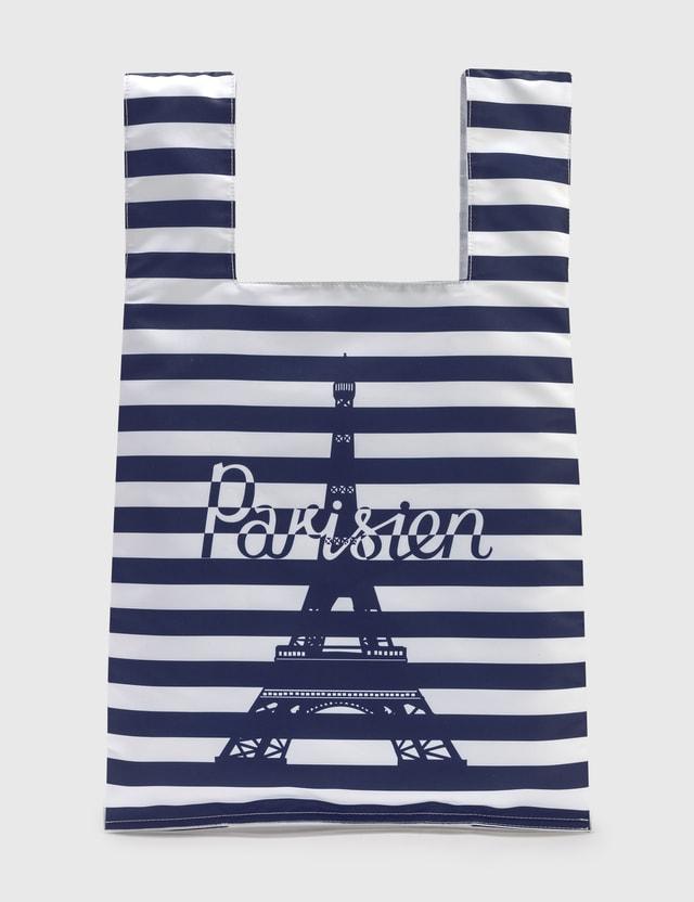 Maison Kitsune Parisien Tower Stripes Nylon Bag Navy Men
