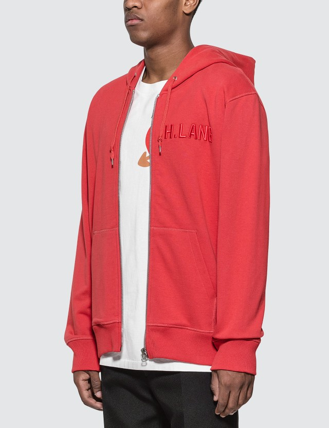 Helmut Lang Embroidered Logo Zipped Hoodie