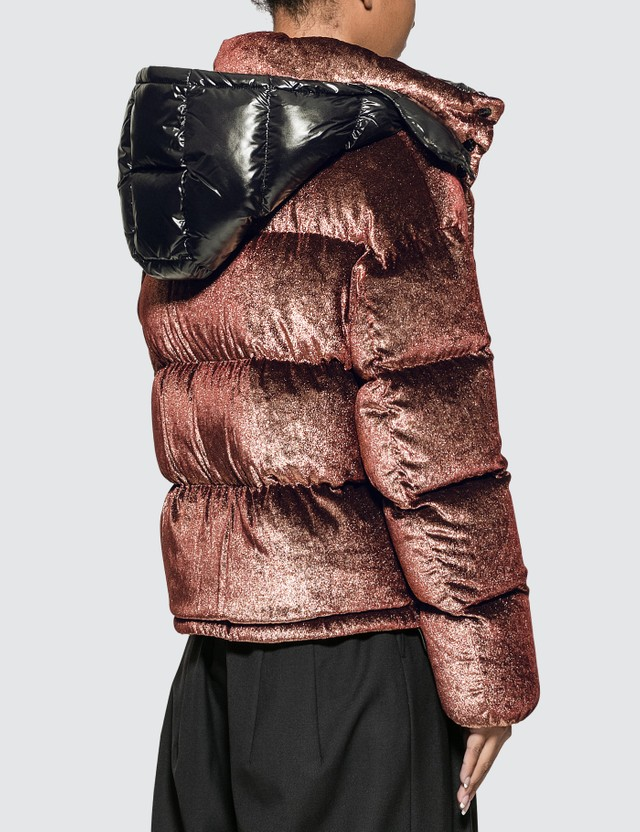 Moncler Velvet Lurex Down Metal Down Jacket With Detachable Hood
