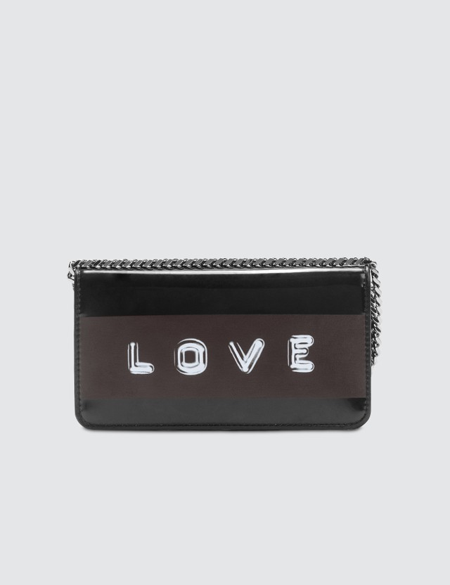 Burberry Tape Print Laminated Phone Wallet with Strap