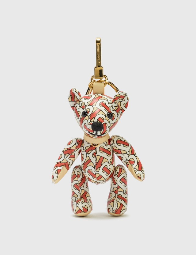 Burberry Thomas Bear Charm in Monogram Print Leather Vermillion Women