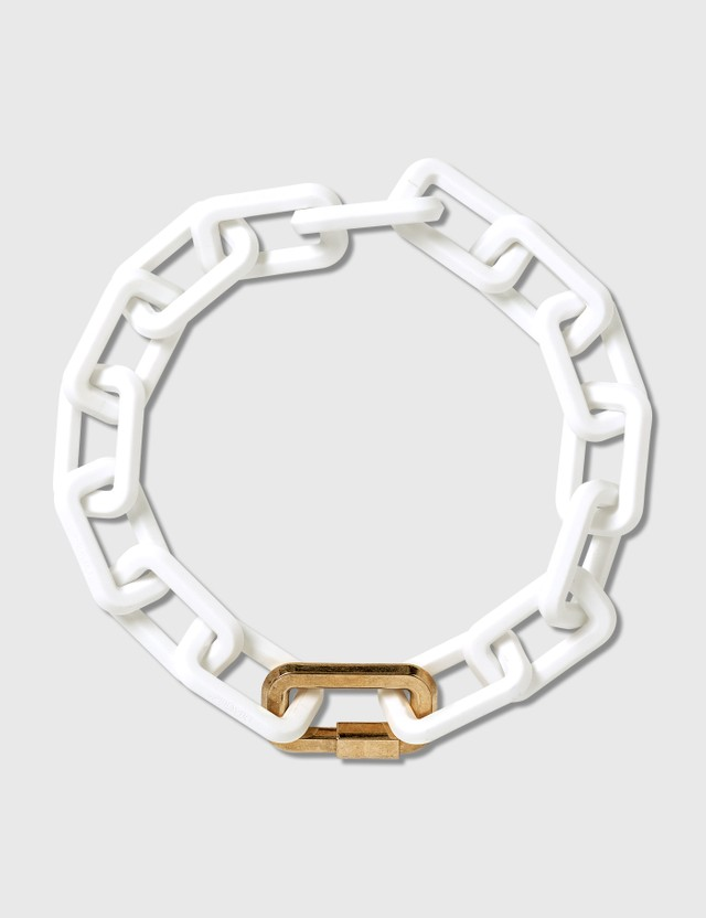 Off-White Acetate Gold Chain Necklace White No Co Women