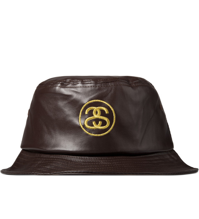Stussy - Brown SS Link Leather Bucket Hat  6e19bf7fcc6