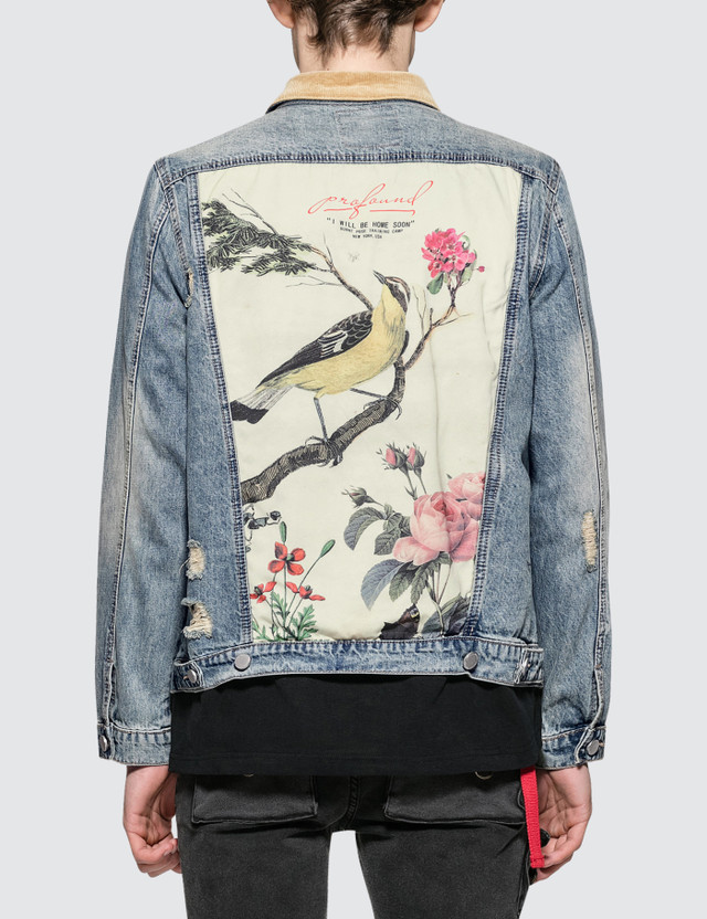 Profound Aesthetic Printed Floral Birds Distressed Denim Jacket with Corduroy Collar