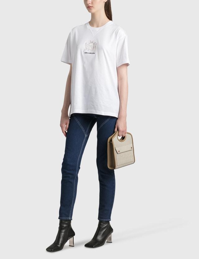 Burberry Mini Horseferry Linen Cotton Canvas Pocket Bag Ecru Women