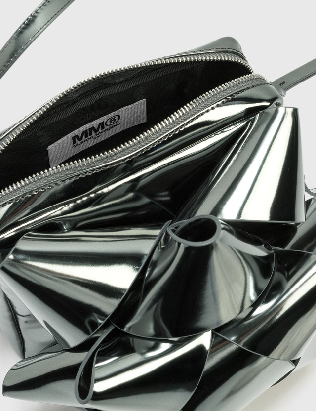 MM6 Maison Margiela Metallic Gift Bow Crossbody Bag Metallic Dark Grey Women