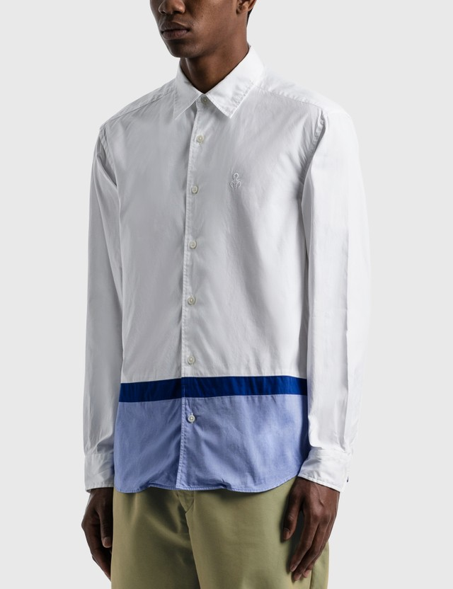 SOPHNET. Hem Paneled Regular Collar Shirt White Men