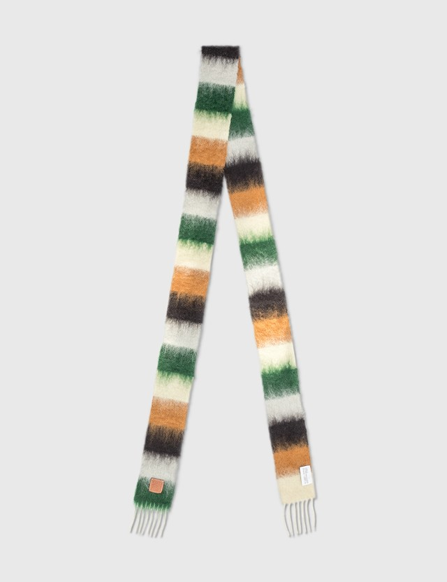 Loewe Striped Scarf In Mohair Dark Green/grey Women