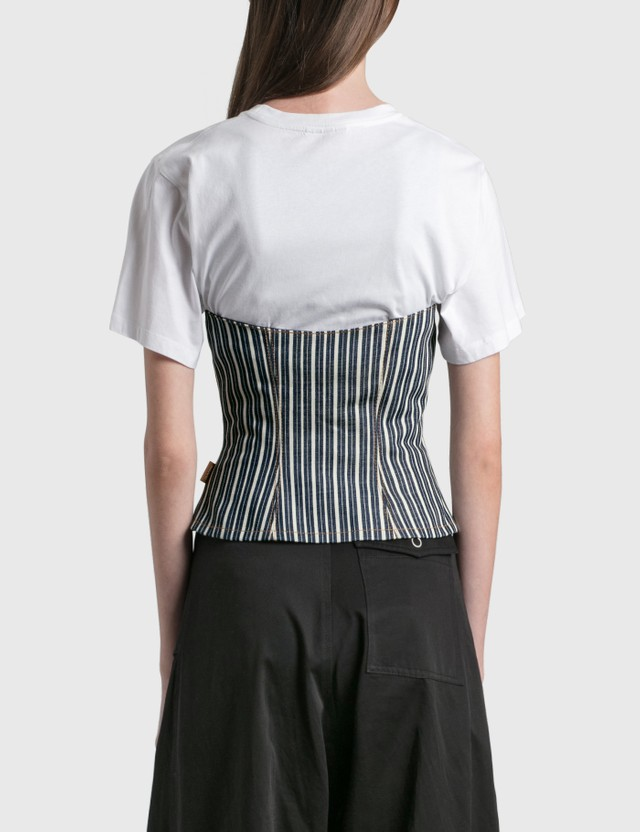 Ganni Mixed Stripe Denim Top Dark Indigo Women