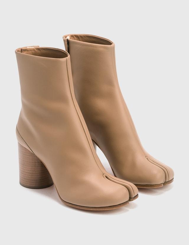 Maison Margiela Tabi Calfskin Ankle Boots Champagne Women