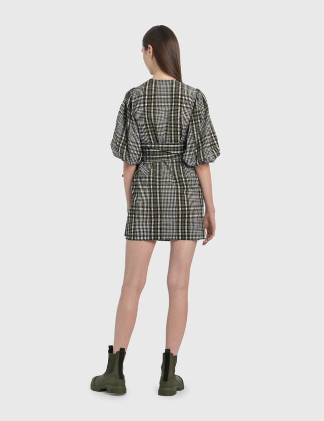 Ganni Seersucker Check Wrap Dress Kalamata Women