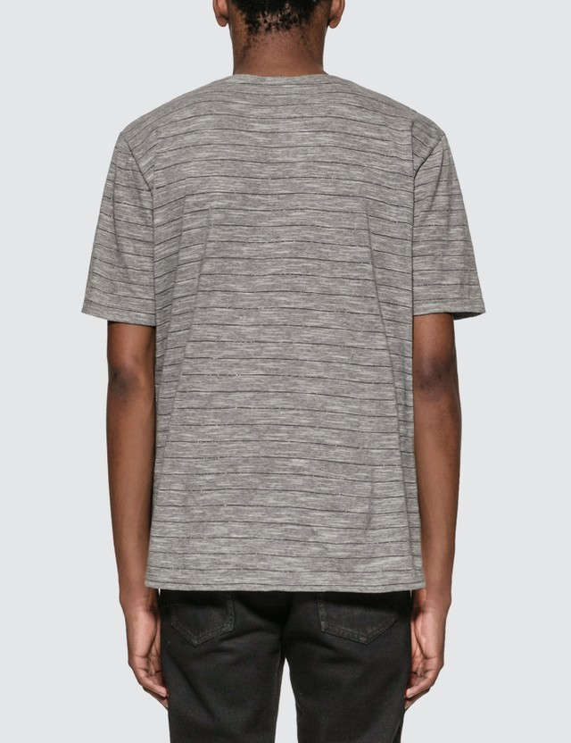 Saint Laurent Monogram T-Shirt With Lamé Stripes Grey Men