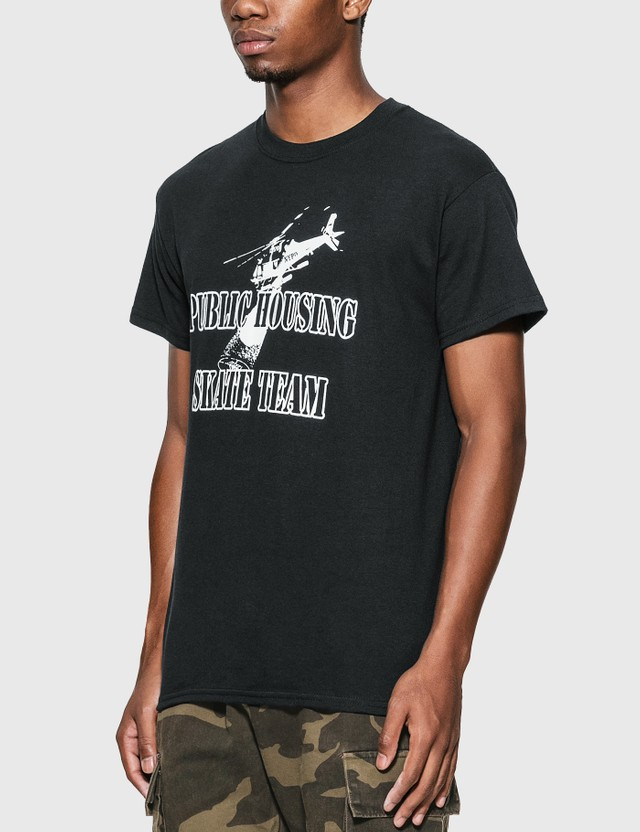 Public Housing Skate Team Helicopter T-Shirt Black Men