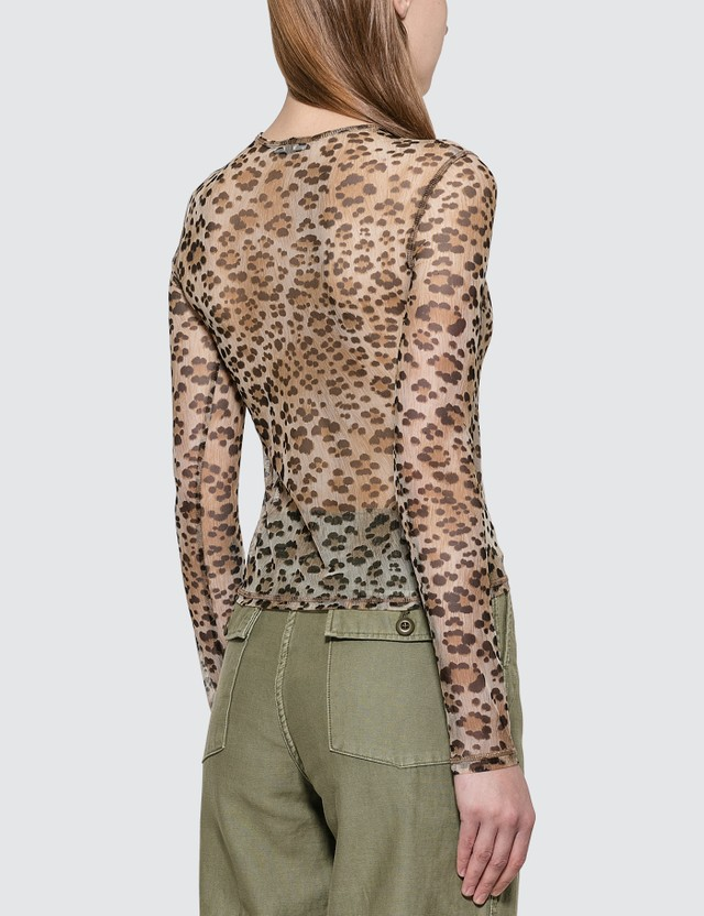 R13 Mesh Long Sleeve T-shirt Leopard Women