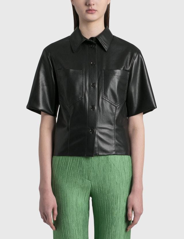 Nanushka Sabine Vegan Leather Shirt Black Women