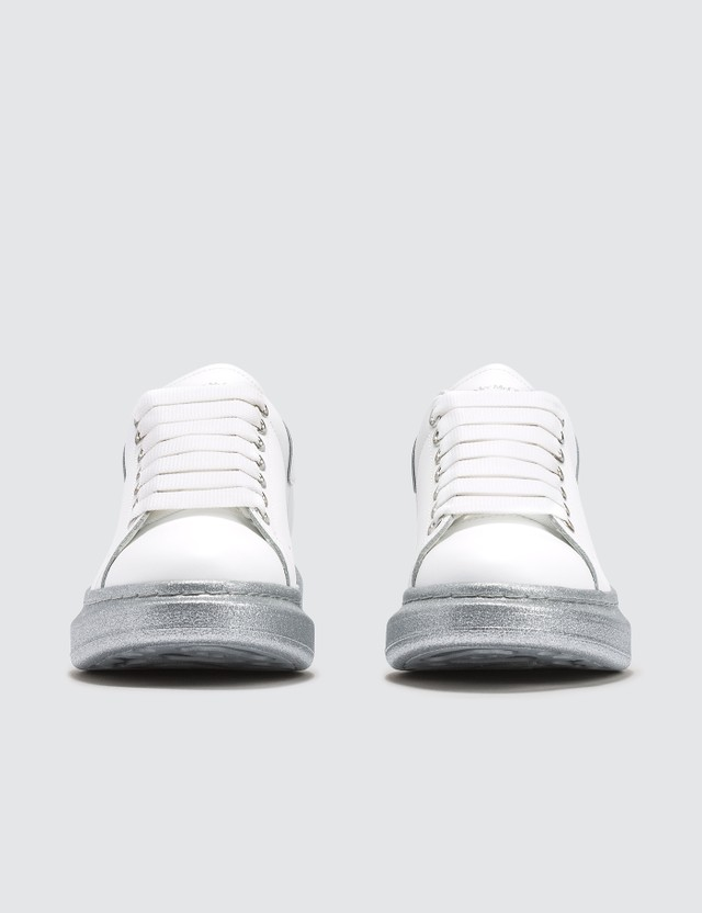 Alexander McQueen Raised-sole Low-top Leather Trainers With Silver Sole