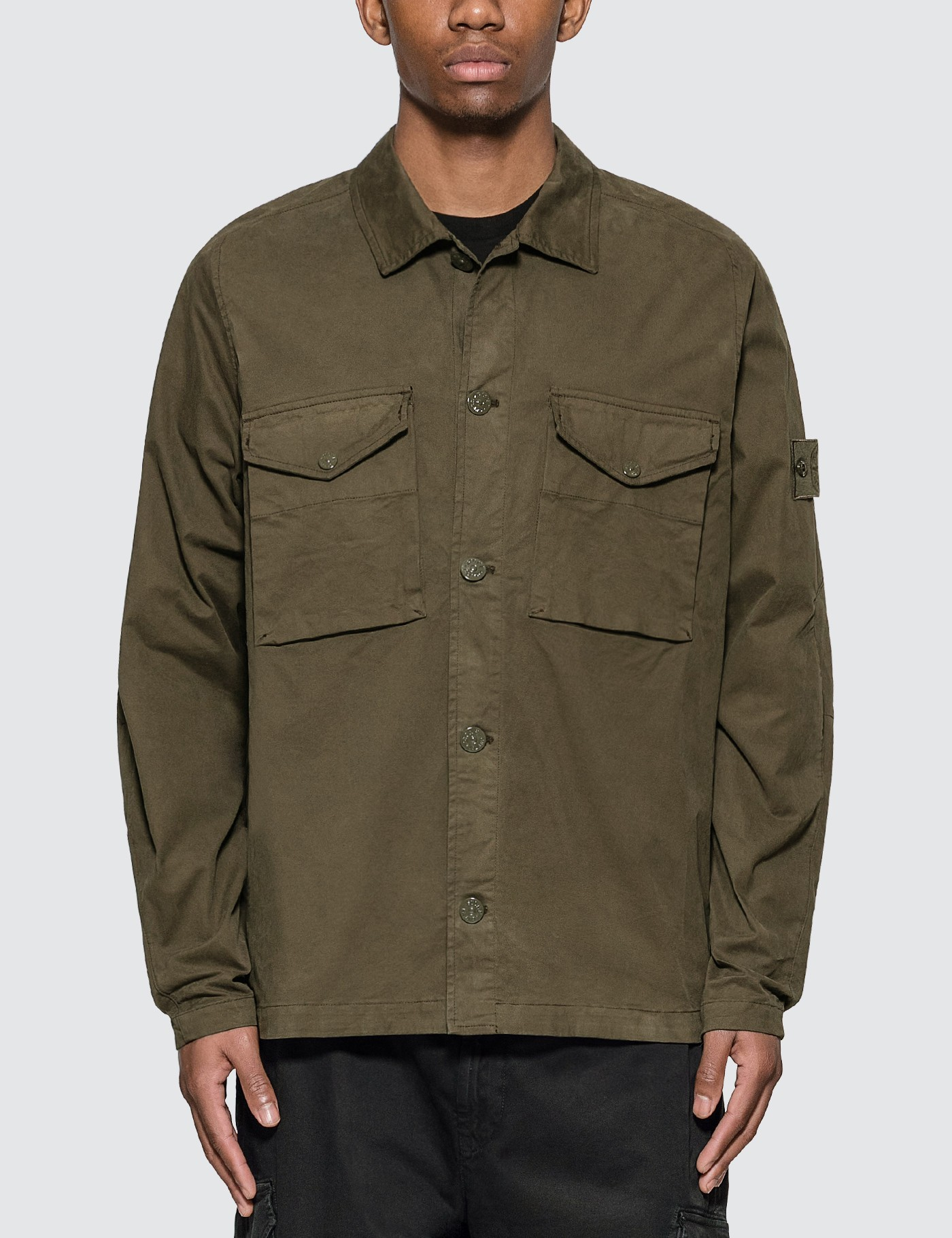 Ghost Pieces Stretch Cotton Twill Overshirt