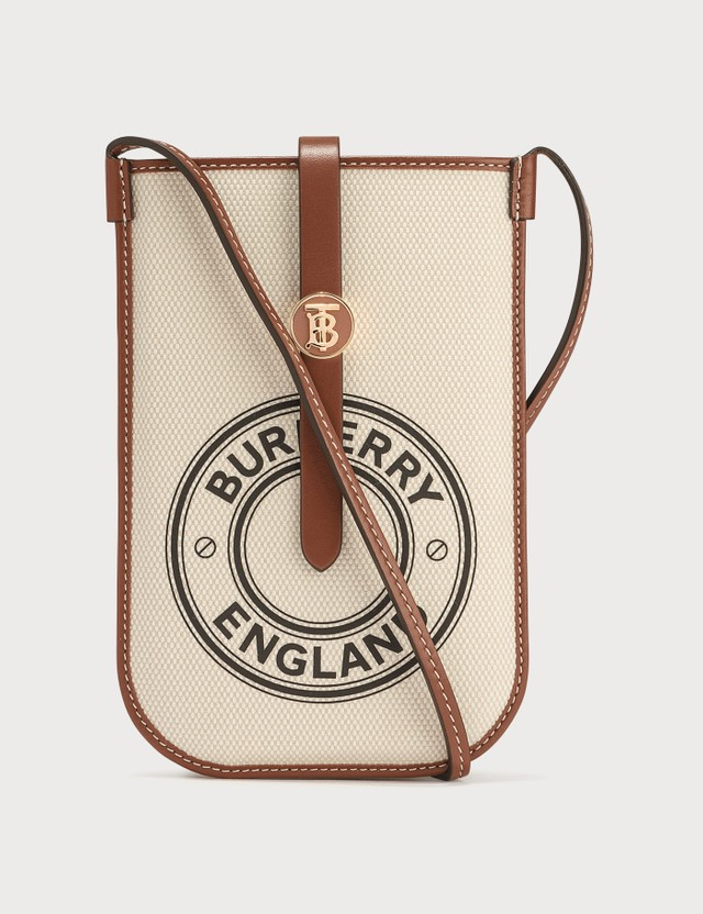 Burberry Mini Logo Graphic Canvas and Leather Phone Bag