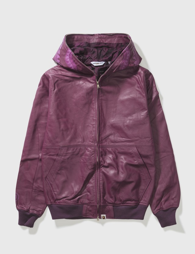 BAPE Bape Shark Leather Jacket Purple Archives