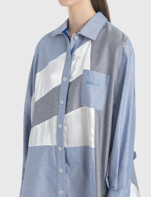KOCHÉ Contrast Paneled Shirt Dress
