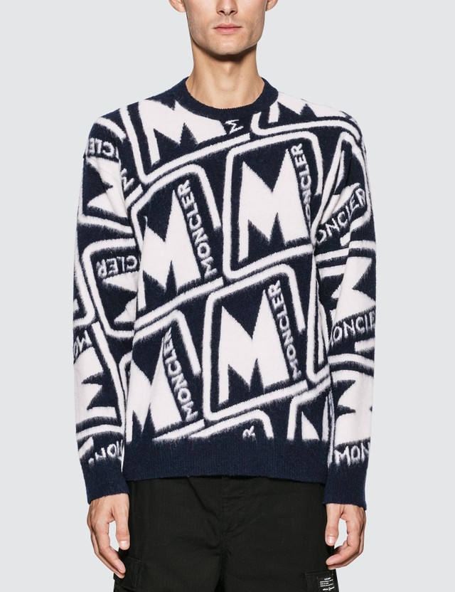 Moncler Monogram Wool Sweater Black Men