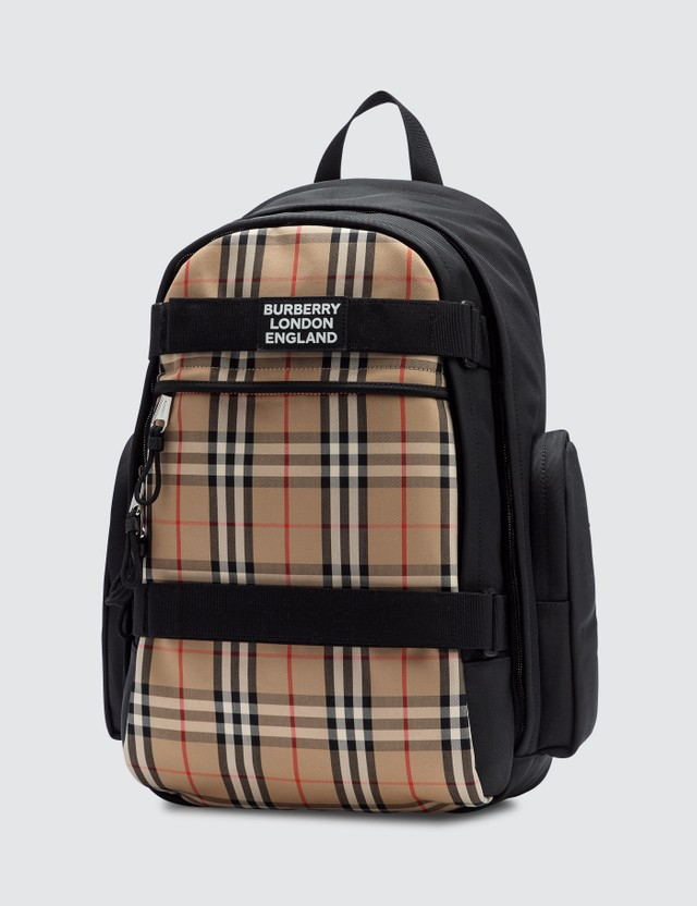 Burberry Large Vintage Check Panel Nevis Backpack Archive Beige Men