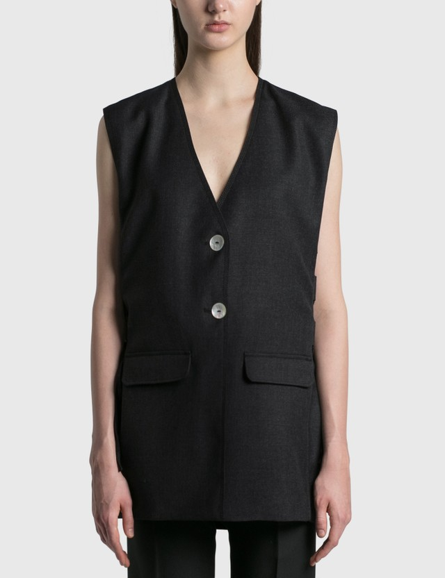 Ganni Wool Suiting Vest Phantom Women