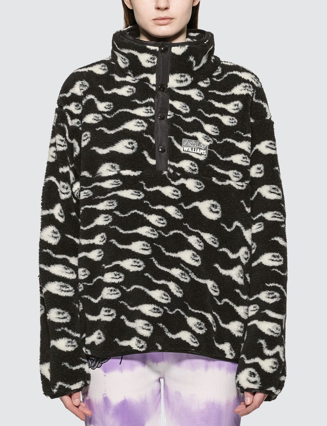 Ashley Williams Juju Sperm Print Fleece Pullover Jacket