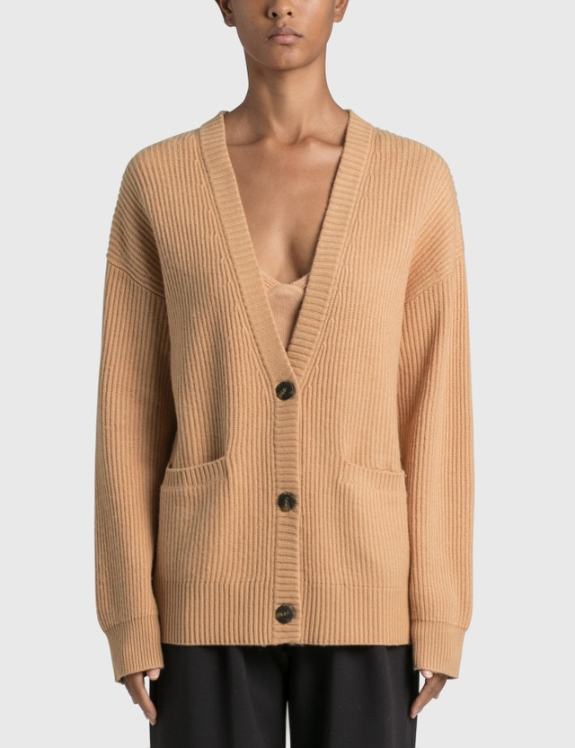 Jonathan Simkhai Estela Wool Cashmere Blend Ribbed Cardigan Orange Women