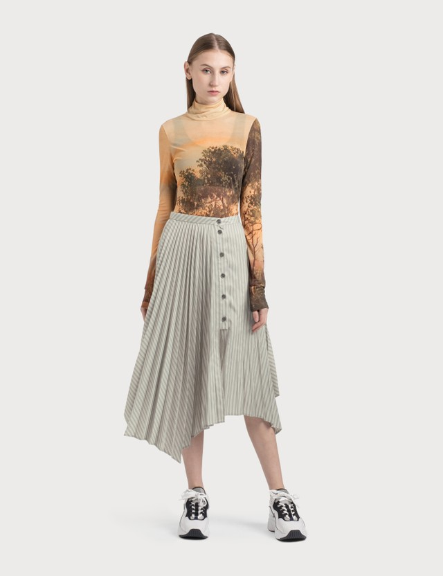 Acne Studios Ilia Stripe Asymmetric Pleated Midi Skirt Steel Grey Women
