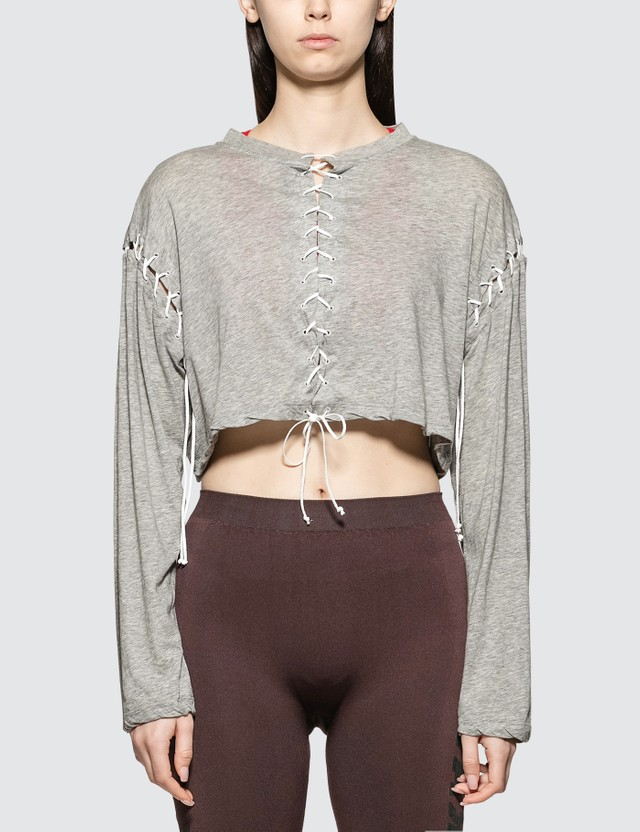 Unravel Project Lace-Up Fastened L/S T-shirt Grey Women