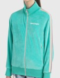 Palm Angels Chenille Track Jacket Acquamarine White Women