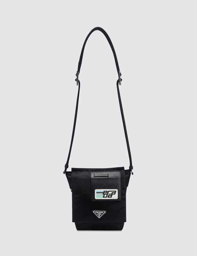 Prada Logo Patch Nylon Side Bag