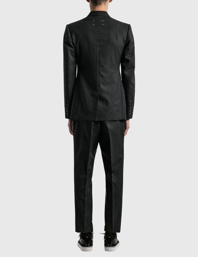Maison Margiela Wool Twill Suits Dark Grey Melange Men