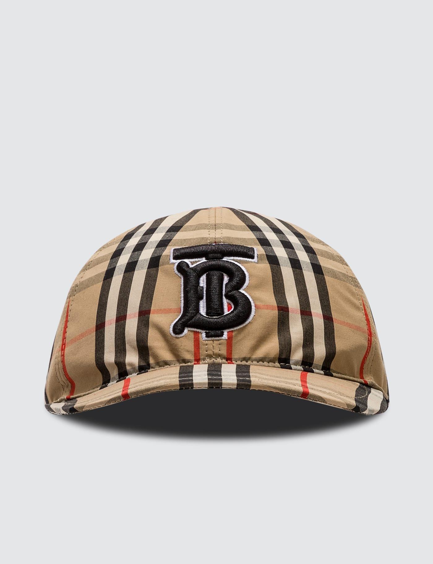 버버리 Burberry Monogram Motif Vintage Check Cotton Baseball Cap